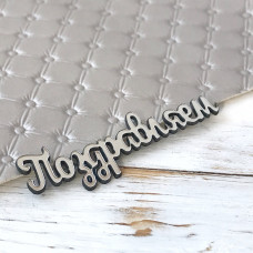 Надпись пластиковая Поздравляем, 7 см. х 2 см., серебро