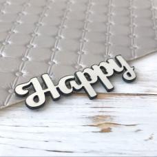Надпись пластиковая Happy, 6 см. х 2,5 см., серебро