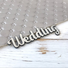 Надпись пластиковая Wedding, 7 см. х 2,5 см., серебро