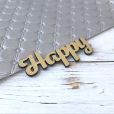 Надпись пластиковая Happy, 6 см. х 2,5 см., золото