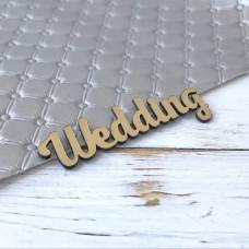 Надпись пластиковая Wedding, 7 см. х 2,5 см., золото