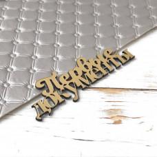 Надпись пластиковая Первые документы, 2,5 см. х 8 см., золото