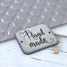 Табличка Hand made, 4 см. х 3,3 см., серебро