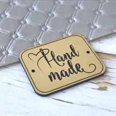 Табличка Hand made, 4 см. х 3,3 см., золото