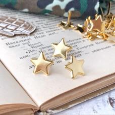Брадсы - металлические, звёзды золото, 1 шт.