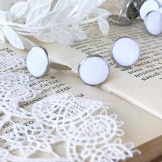 Брадсы эмалевые большие, цвет белый, 1 шт.