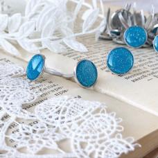 Брадсы эмалевые большие с глиттером, цвет голубой, 1 шт.