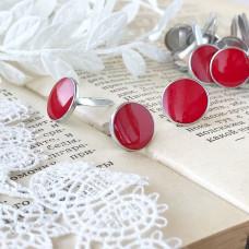 Брадсы эмалевые большие, цвет красный, 1 шт.