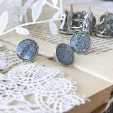 Брадсы эмалевые большие с глиттером, цвет серебристый, 1 шт.