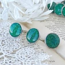 Брадсы эмалевые большие с глиттером, цвет зелёный, 1 шт.