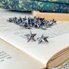 Заклёпка декоративная звезда, тёмное серебро, 1,2 см.