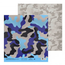 "Лист бумаги от АртУзор ""Камуфляж синий"", 20 х 20 см."