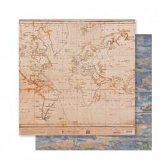 "Лист бумаги от АртУзор ""Винтажная карта"", 30,5 х 30,5 см."