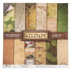 """Набор бумаги от АртУзор """"Military"""" 12 листов 30,5 х 30,5 см."""