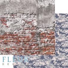 """Лист бумаги от Fleur Design """"Храбрые сердца"""" Милитари, 30 х 30 см."""