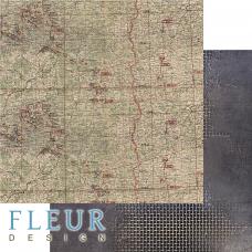 """Лист бумаги от Fleur Design """"Храбрые сердца"""" Карта, 30 х 30 см."""