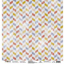 """Лист бумаги 30x30 см. от Mona Design Цветной шеврон """"Межсезонье"""""""