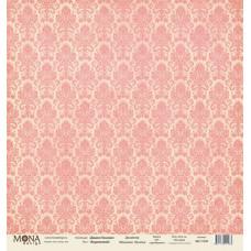 Лист бумаги 30x30 см. от Mona Design Дамаск коралловый (базовый)