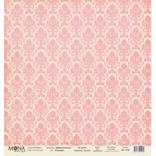 Лист бумаги 30x30 см. от Mona Design Дамаск розовый (базовый)