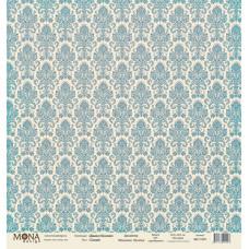 Лист бумаги 30x30 см. от Mona Design Дамаск синий (базовый)
