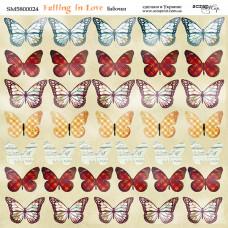 Лист двусторонней бумаги 20x20 см. от Scrapmir Falling in Love Бабочки