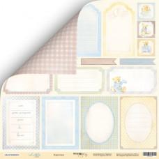 Лист двусторонней бумаги 30x30 см. от Scrapmir Little Bear Карточки №1