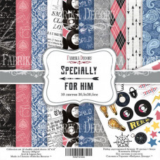 "Набор бумаги от Фабрики Декора ""Specially for him"" 10 листов 20 х 20 см."