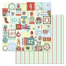 """Лист бумаги от ScrapMania """"Сказка на Рождество"""" Адвент-календарь, 30 х 30 см."""