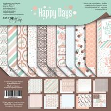 Набор двусторонней бумаги 20 х 20 см. от Scrapmir Happy Days 11 листов