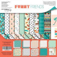Набор двусторонней бумаги 20 х 20 см. от Scrapmir Funny Friends 11 листов