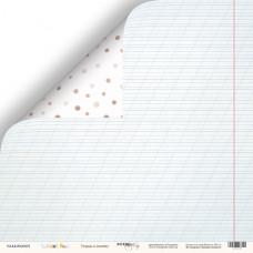 Лист двусторонней бумаги 30x30 см. от Scrapmir School Days Тетрадь в линейку