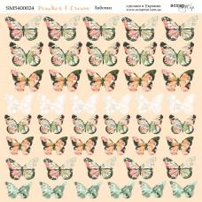Лист двусторонней бумаги 20x20 см. от Scrapmir Peaches & Cream Бабочки