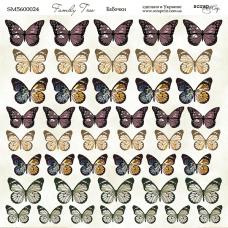 Лист двусторонней бумаги 20x20 см. от Scrapmir Family Tree Бабочки
