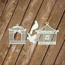 Винтажные клетки с птицами