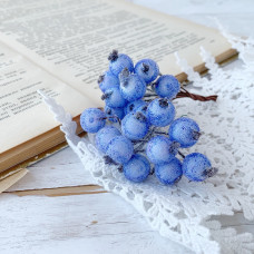 Набор сахарных ягод калины, цвет синий, 10 шт.