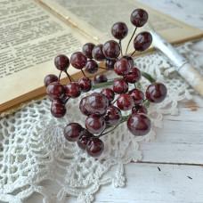 Набор лаковых ягод калины, цвет тёмно-коричневый, 10 шт.