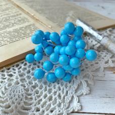 Набор лаковых ягод калины, цвет голубой, 10 шт.