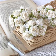 Роза кудрявая 2 см., белая