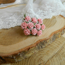 Роза, 1 см., розово-персиковая