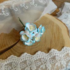 Цветок вишни, бирюзовый/белый цвет