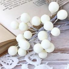 Набор лаковых ягод калины, цвет белый, 10 шт.