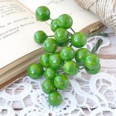 Набор лаковых ягод калины, цвет зелёный, 10 шт.