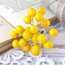 Набор лаковых ягод калины, цвет жёлтый, 10 шт.