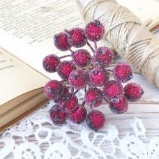 Набор сахарных ягод калины, цвет бордовый, 10 шт.