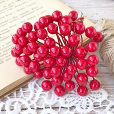 Набор лаковых ягод калины, цвет красный, 10 шт.