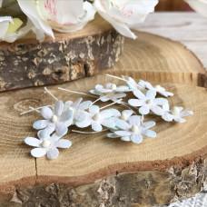 Цветочек маленький 17 мм., цвет мятный/белый, 5 шт.