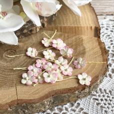 Цветочек маленький 13 мм., цвет молочный/розовый, 5 шт.