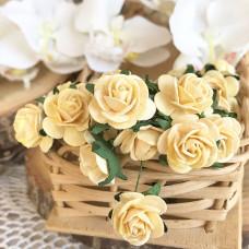 Роза, 2 см., светло-жёлтая
