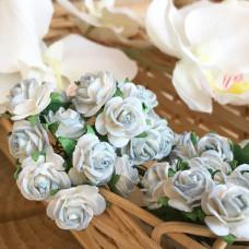 Роза, 1,5 см., голубая 2-х тоновая