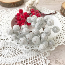 Набор сахарных ягод калины, цвет серебристый, 10 шт.